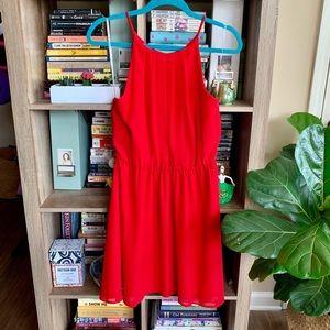 Lush High Neck Red Chiffon Dress